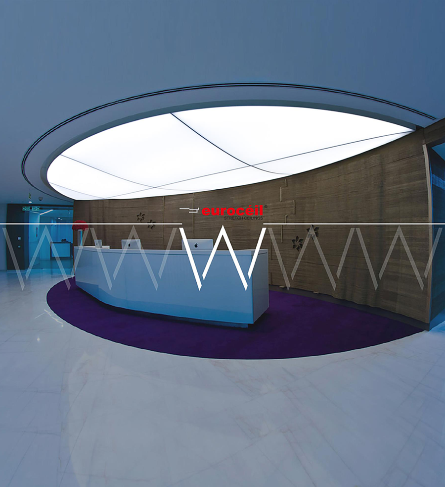 Stretch Ceiling Translucent with Backlighting in reception